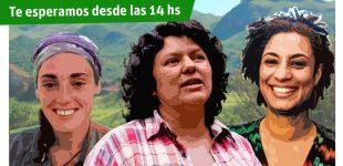 Realizan mural en memoria de las luchadoras Alina Sánchez, Berta Cáceres y Marielle Franco